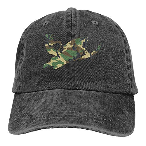 Baseball Caps für Herren/Damen,Golf-Kappen,Camo Green Snowmobil Men's Women's Adjustable Jeans Baseball Hat Yarn-Dyed Denim Dad Hats Sports Cool Youth Golf Ball Unisex Cowboy hat fedora beach hiking -