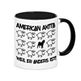 Tasse BLACK SHEEP - AMERICAN AKITA - Hunde Fun Schaf Kaffebecher Siviwonder
