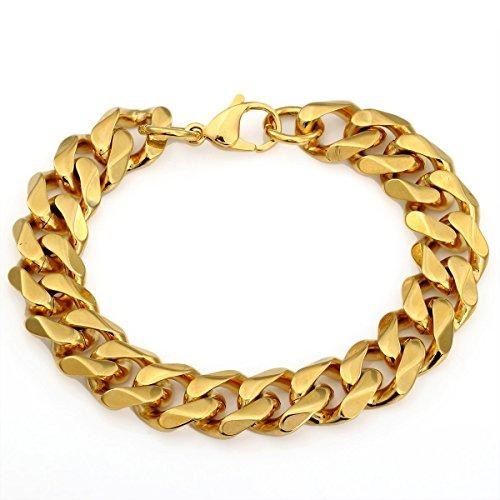 Trendsmax 14mm Uomini Catena bracciale in acciaio inossidabile enorme Cut Curb cubano Copia il link Giallo tono oro