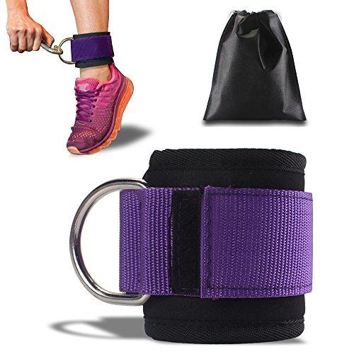 ASMOTIM Premium Fußschlaufen - Gepolstert - Perfekt für Beintraining am Kabelzug - Gratis Tragebeutel - Flexibel Einstellbar für jedes Workout und Dein Po Training - 1 Jahre Gewährleistung (Lila)