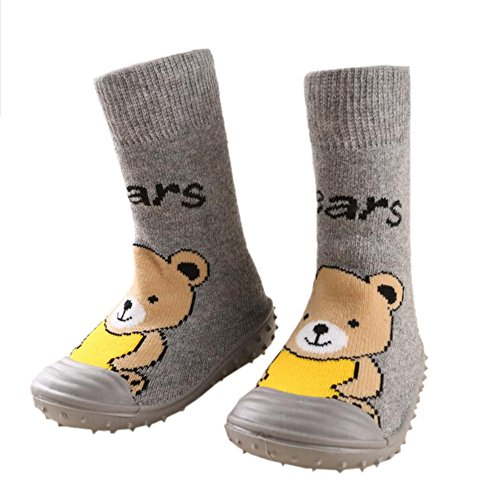leap frog  Floor Sock Slipper, Chaussons montants bébé fille Bear Gray