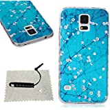 [Extremadamente Delgada] Funda 3D Silicona Transparent para Samsung Galaxy S5 ,Funda TPU Ultra Slim para Samsung Galaxy S5 , TOCASO Case Fina Slim Fit Cristal Clear, Transparent Slicona Clear Cover Glittering Bling Cute Pattern Colored Painting Flexible Material Antigolpes Antigravedad Anti-Impacto Anti-Shock Back Shell con Bumper Lightweight Carcasa para Chica y Girls Friends -la Flor del Ciruelo + 1x Negro Stylus Pen