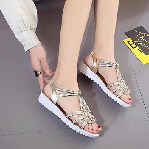 Vovotrade Sandales à Semelles épaisses Sandales été Femmes Match Loisirs Sandales à Fleurs Chic Or