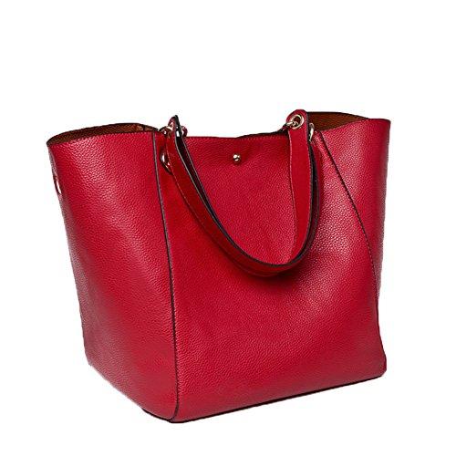 Valleycomfy Damen Tasche Einkaufstasche Pu Leder Handtasche Schultertasche (rot) (Handtasche Rote)