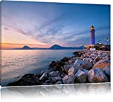 Leuchtturm bei Ebbe Bild auf Leinwand, XXL riesige Bilder fertig gerahmt mit Keilrahmen, Kunstdruck auf Wandbild mit Rahmen, guenstiger als Gemaelde oder Bild, kein Poster oder Plakat, Format:100x70 cm
