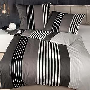 janine 8473 j d mako satin bettw sche 135x200 cm 80x80 cm schwarz taupe aus naturreiner. Black Bedroom Furniture Sets. Home Design Ideas