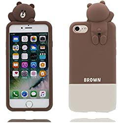 iPhone 7 Plus carcasa, Funda iPhone 7 Plus, Cute Novedad Kawaii 3D Cartoon oso Animal Suave TPU Funda protectora delgada resistente a los arañazos de Silicona - Bear