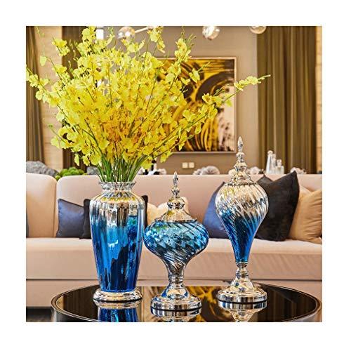 ZHING Blumenvase Glass Light Luxury Blue Gradient Mit Trockenblumen Mit Cap Set -
