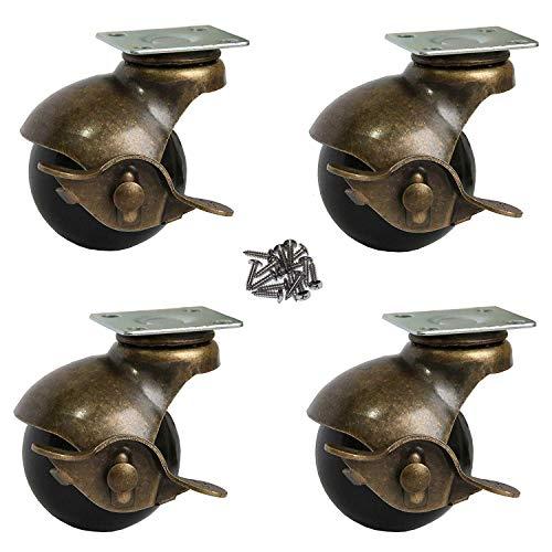 OK5STAR Antike Möbelrollen, 5,1 cm Kugelplatte, Rollen mit Bremse, Vintage-Drehgelenkrollen mit oberer Montageplatte für Sofa, Stuhl, Schrank, Möbelbank (BallCaster-Plate50B)