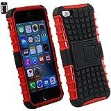 Emartbuy® Apple iPhone SE Tough Robuste Heavy Duty Schutz Hülle mit eingebautem Ständer Schwarz / Rot