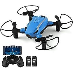 Plegable Drone con cámara hd, Helifar X1 Wifi FPV Mini dron 2.4GHz 6-Axis Gyro RC Quadcopter para niños, principiantes, una tecla de despegue / aterrizaje, Headless mode, Altitude Hold con dos baterías