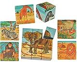 Unbekannt Bilderwürfel / Würfelpuzzle bemalt aus Holz - 9 Teile mit Vorlagen - Puzzle - Giraffe - Elefant - Löwe - Affen - Zebra - Nilpferd - Tiere