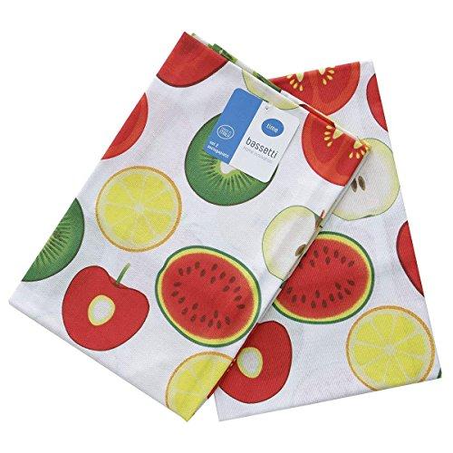 Set 2 Strofinacci Asciugapiatti Frutta Bassetti Bana 100% cotone N073 ROSSO