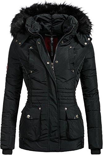 Marikoo Damen Jacke Winterjacke Steppjacke Vanilla (vegan hergestellt) Schwarz Gr. XL