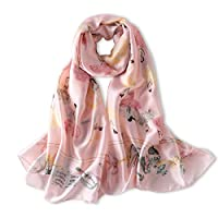 2018 New Women's Silk Feeling Scarf Smooth Women Fashion Scarves Soft Print Shawls and Wraps Pashmina Hijab (Pattern 11 Pink)