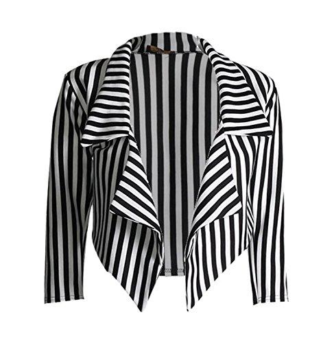 Gestreifte Blazer Kostüm - Fast Fashion Damen Strickjacke Blazer ¾ Ärmeln Dünne Streifen Wasserfall Top