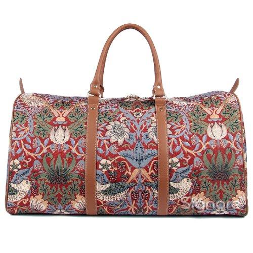 Signare grand fourre-tout bagage weekender en toile tapisserie mode femme William Morris Fraise voleur rouge