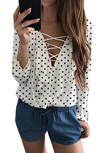 Zilcremo Frauen Casual/Hals Spitzen Offene Tunika Chiffon Rüschen Bluse, Hemd oben Whitepolkadot 3XL (Hals Bluse Offenen)