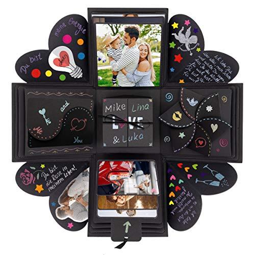 int!rend Premium Geschenk DIY Foto Box, personalisierte Überraschungsbox, für Geburtstag, Hochzeit, Valentinstag, Jahrestag, kreatives Fotoalbum für Freundin oder Freund - Explosionsbox