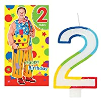 Unique Industries and Danilo Mr Tumble Age 2 Birthday Card with Number 2 Rainbow Candle