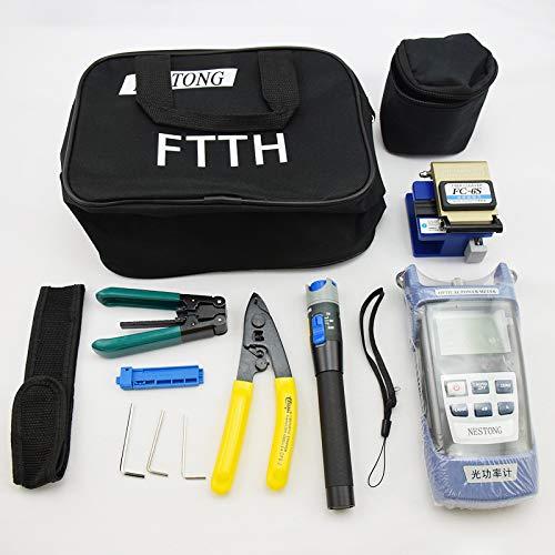 Preisvergleich Produktbild Fiberoptik FTTH Werkzeugset Glasfaser-Stecker-Kit inklusive LWL-Kabel-Tester visueller Fehlersucher,  tragbarer optischer Leistungsmesser etc. Alle Werkzeuge