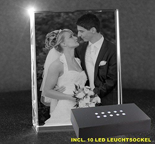 VIP-LASER 2D GRAVUR Glas Kristall Flachglas selbststehend Hochformat mit Deinem Hochzeitsfoto. Dein Wunschfoto für die Ewigkeit mitten in Glas! Groesse XL...