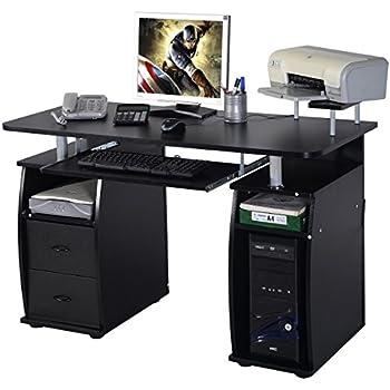 costway computertisch schreibtisch b rotisch arbeitstisch pc tisch mit tastaturauszug. Black Bedroom Furniture Sets. Home Design Ideas
