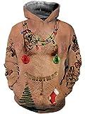 Idgreatim Männer Weihnachten Kapuzenpullover gedruckt Langarm haarige Brust Swearshirt Cool Outwear Mantel Top Bluse Trainingsanzüge mit Taschen