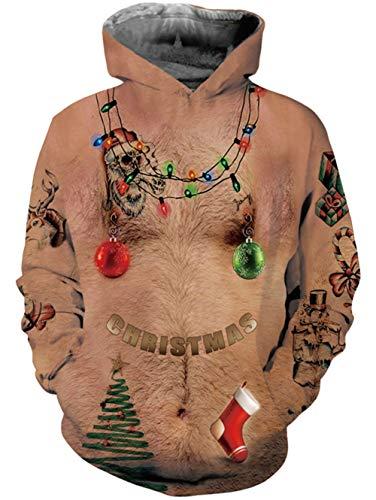 Idgreatim Herren 3D Print haarige Brust Pullover Kapuzenpullover lustige Muster mit Kapuze Sweatshirts Taschen für Jugendliche Jumper