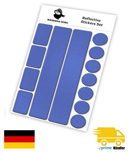 Reflektoren Aufkleber Sticker Set (13 Stück) Für Kinderwagen, Fahrrad, Schulranzen, Helmen, Jogger für mehr Sicherheit t Im Straßenverkehr bei Dämmerung und Abends - selbstklebend Farbe Blau