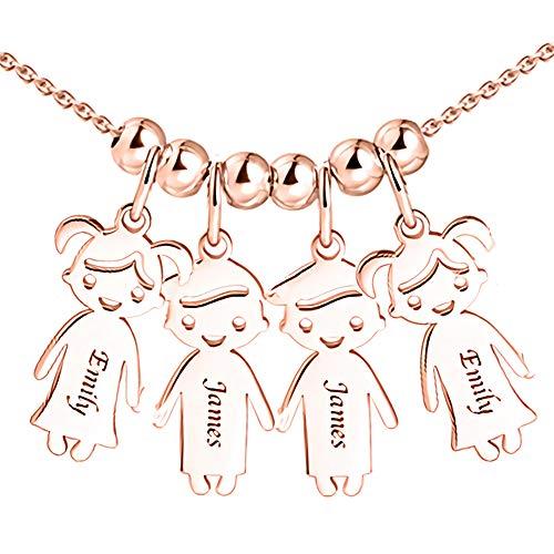 Personalisierte Namenskette für Mütter Gravur 1 bis 5 Kinder Namen-Mutter Name Halskette Boy und Girl Charms für Muttertag 925er Sterling Silber (Namen Charms)