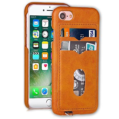 Voguecase Pour Apple iPhone 7 Plus 5,5, PU Housse en cuir synthétique pour la couverture dur Apple iPhone 7 Plus 5,5 avec Emplacements de carte(Marron) de Gratuit stylet l'écran aléatoire universelle Beige