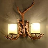 Applique vintage creativo corridoio decorazione per il antler parete lampada salotto-camera da letto lampada da comodino lampada parete Lampade a deer americano testa,Doppia testa