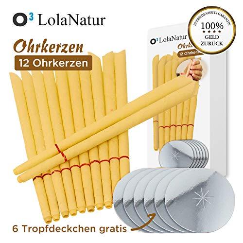 O³ LolaNatur Ohrkerzen // 12 konische & traditionelle Ohrenkerzen aus Bienenwachs // Inklusive 6x Tropfdeckchen // Zum Entspannen und Reinigen // Mit Sicherheitsfilter und deutscher Anleitung