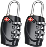 2 x TRIXES 4-Dial TSA Combination Padlock for Luggage Suitcases and Travel - Various Colours