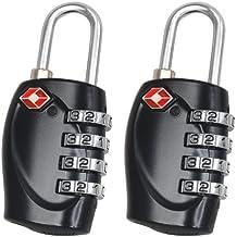 TRIXES x 2 Lucchetto di sicurezza a 4 combinazioni per valigia approvato dalla TSA - nero