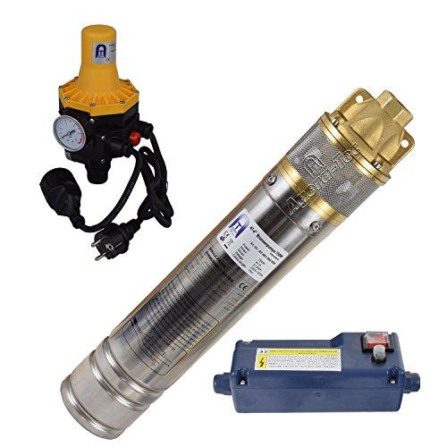 Agora-Tec® AT- 4 Zoll 750-3DW Hochdruck Tauchpumpe für Zisternen und Wassertanks inkl. Druckschalter mit Trockenlaufschutz für Haus und Garten mit max: 6,1 bar, 3000l/h (750 Dw)