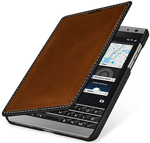 StilGut Book Type Case, Hülle aus Leder für BlackBerry Passport Silver Edition, Cognac-Schwarz Nappa