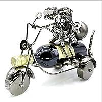 HJJRWR Pareja Motocicleta Estantería de Vino Decoración hogareña Artesanía Metal Escultura Moderno Escultura Estantería de Vino