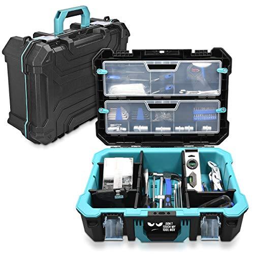 Navaris caja de herramientas de plástico - Organizador de herramienta con protección antigolpes ...