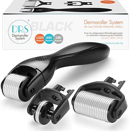 DRS BLACK Dermaroller 3-in-1 Sparset: 1x Dermaroller mit 600 (0,30mm) + 1x Ersatzkopf mit 180 (0,25mm) + 1x Ersatzkopf mit 1200 (0,50mm) Nadeln