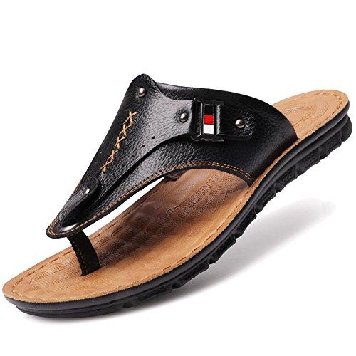 MERRYHE Zapatos De Gran Tamaño para Hombres Sandalias De Playa De Cuero  Genuino Sandalias De Piscina para Adultos Slip On Slippe 2538449ea41