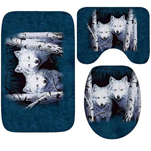 Dtuta Wohnmobil ZubehöR Wohnlandschaft Hauptdekoration Rutschfestes Material Mit Der Realistisch Wolf Kommt Dreiteiliges Badezimmer