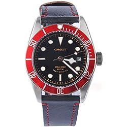 41mm Corgeut Saphirglas Aluminium Rot Lünette Mechanische Automatik Uhr