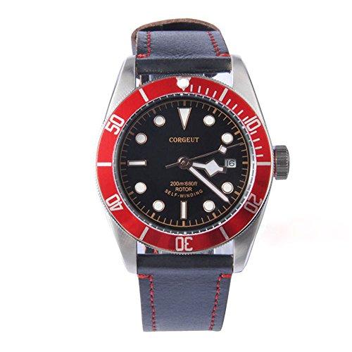 41mm corgeut vetro zaffiro alluminio rosso lunetta meccanico orologio...