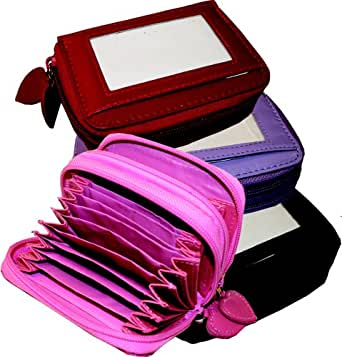 Womens/Ladies Faux Leather Concertina Purse, With Zip Close Concertina Section, Pink