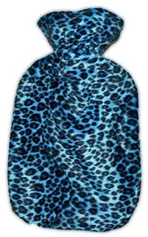 Warm Tradition Blue Cheetah Print Plush Hot Water Bottle Cover - COVER ONLY- Made in the USA by Warm Tradition
