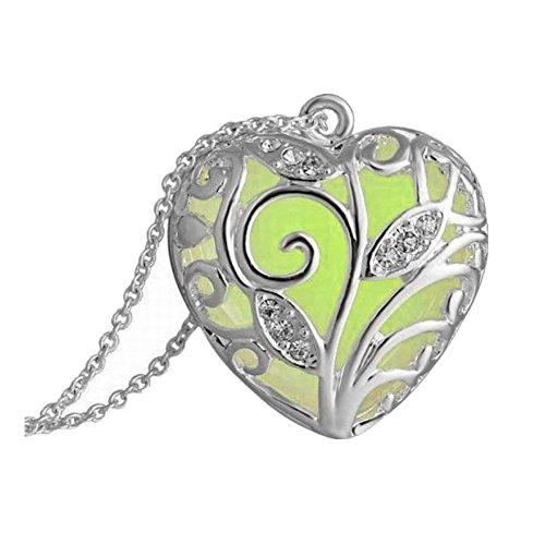 qua Grün Green Tree Herzen Glühen In der dunklen Anhänger Halskette Geschenk (Herzen Glühen)