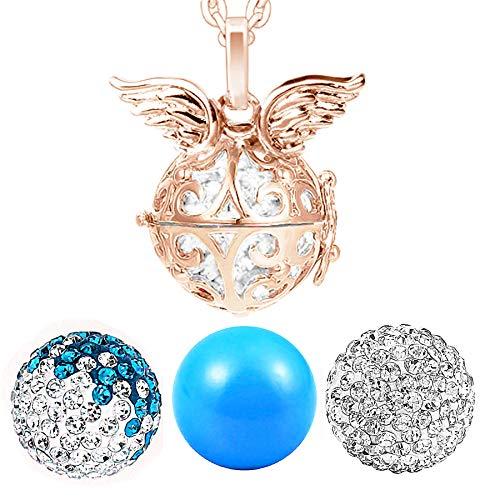 AKKi jewelry Damen Halskette 70 cm mit Ornament Anhänger und 3 Engelskugel Engel-Kette-rufer Klangkugel Ø 14 mm in Schmuckbeutel zur Farbauswahl Rosegold