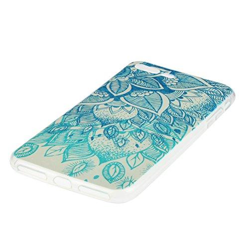 Super Clear Custodia in Soft TPU Silicone Apple iPhone 7Plus 5.5, CLTPY Creativo Cute Cartone Animato Painted Disegno Serie Ultra Sottile Leggero Flessibile Morbido Protettivo Bumper Case per iPhone  Blu Fiore